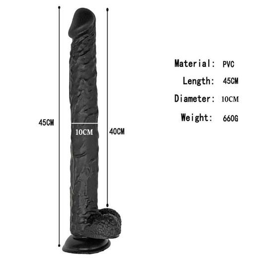 18 inch Extra Large Black Dildo Sex Toy with Strong Suction Cup For Women