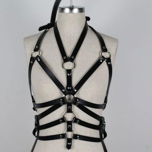 Body Leather Harness Set Bra