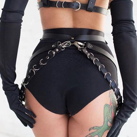 Romantic Body Harness Garter Belt With Metal Chain Waist Leg Cage