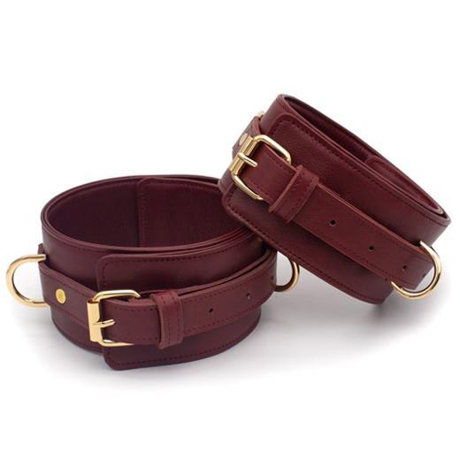 Burgundy Bondage Leather Restraint Set, Cuffs, and Collar