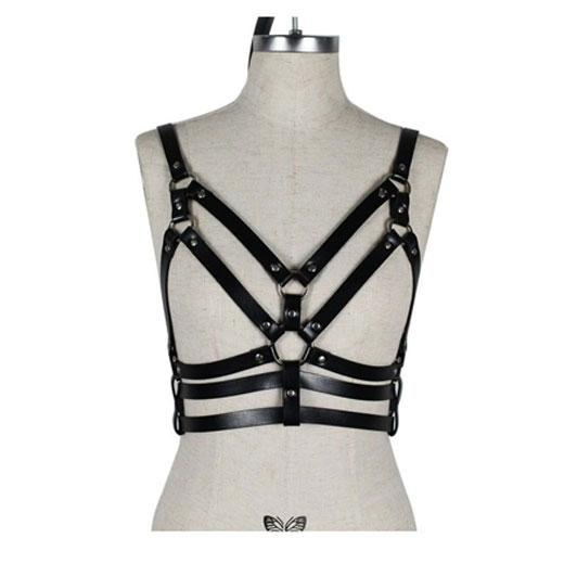Sexy Chest Harness Leather Bandage Strappy Rave Bra for Women