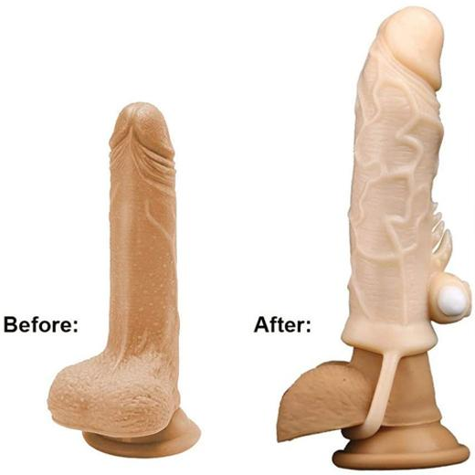 Silicone Condom Penis Sleeve Extender with Vibrator