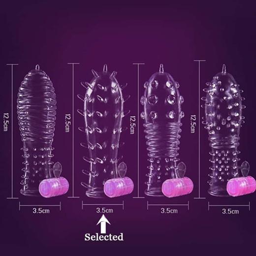 Shark Crystal Condom Sleeve with Vibration Mode