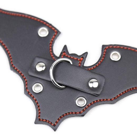 Genuine Leather Bat Shape Collar With Chain Leash