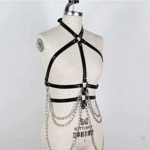 Harness Sexy Garter Belt Woman Leather Fetish Body Bondage