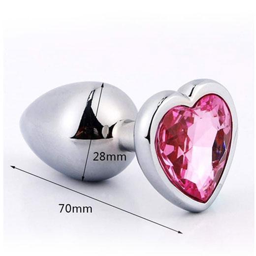 Heart Stainless Steel Crystal Anal Plug