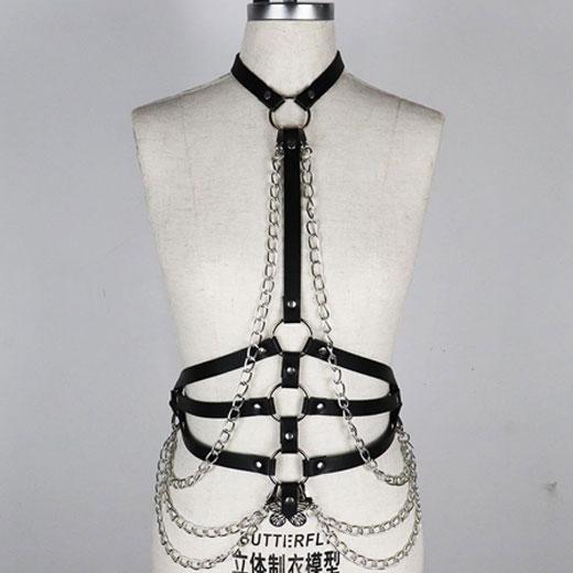 Leather Body Harness Bondage Chain Waist Belt Strap Corset Bustier