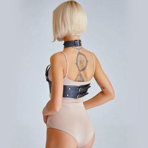 Leather Belt Harness Bust Body Garters Bondage Choker