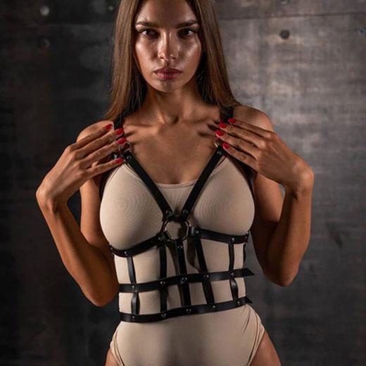 PU leather harness Bondage corset for women