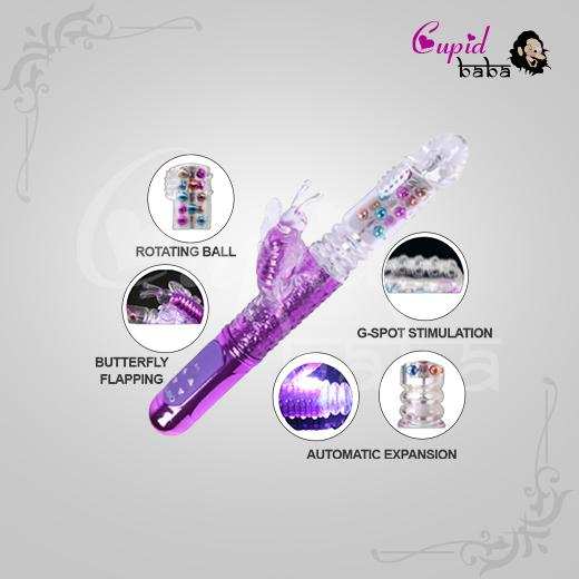 Rechargeable Butterfly Rabbit Vibrator with Rotating & Thrusting Beads
