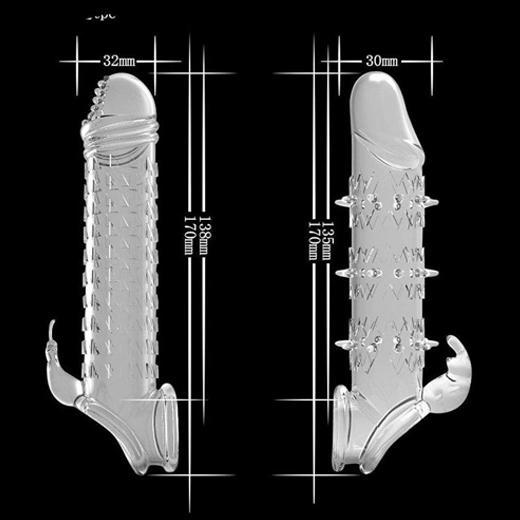 Reusable Crystal Delay Time Penis Sleeve Extender For Men