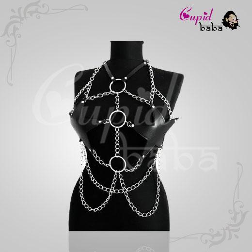 Sexy Star Faux Leather Body Harness Metal Chain Crop Top For Women