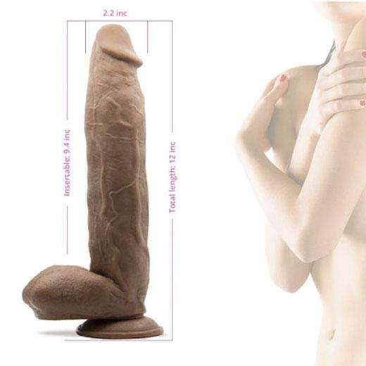12 inch Silicone Liquid Dildo With Suction Cup