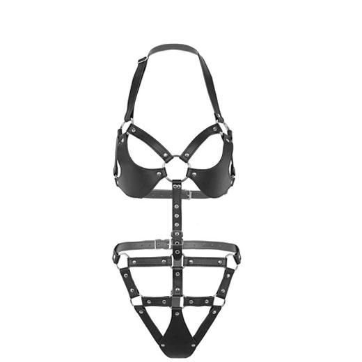 Bondage Women Sexy Black Bodysuit Belt Chastity