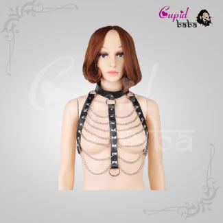 Leather Body Harness Chain Bra Bralette