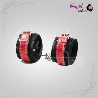 Red/Black Nylon Bondage Wrist Cuffs